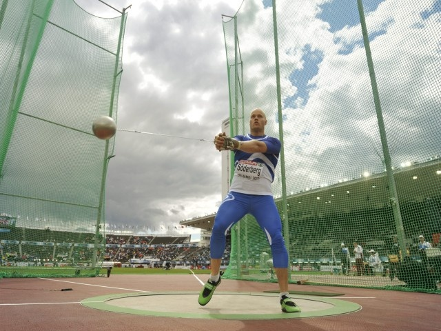 Day 2: Finland's David Söderberg during men's hammer qualification at the European Athletics Championships Helsinki 2012 in Helsinki on Thursday, 28th June, 2012.