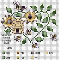 Bee Cross Stitch Pattern  Punto de cruz abejas cocina, patrones de punto de cruz♥