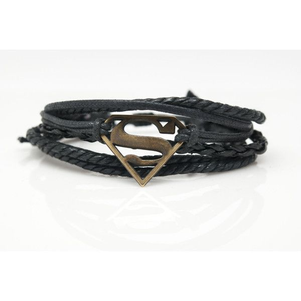 Superman Rope and Leather Adjustable Unisex Charm Bracelet Leather... ($17) ❤ liked on Polyvore featuring jewelry, bracelets, friendship bracelet, adjustable bangle, leather bangle, superman jewelry and leather jewelry
