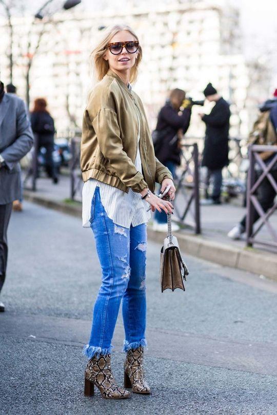 Bottom fringe denim jeans, bomber jacket + snakeskin boots // #streetstyle #lotd #ootd