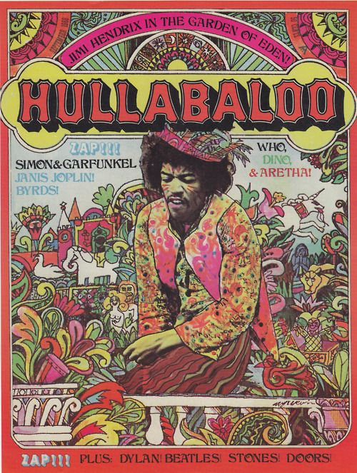 Classic rock concert psychedelic poster - Hendrix, Who, Joplin, more.
