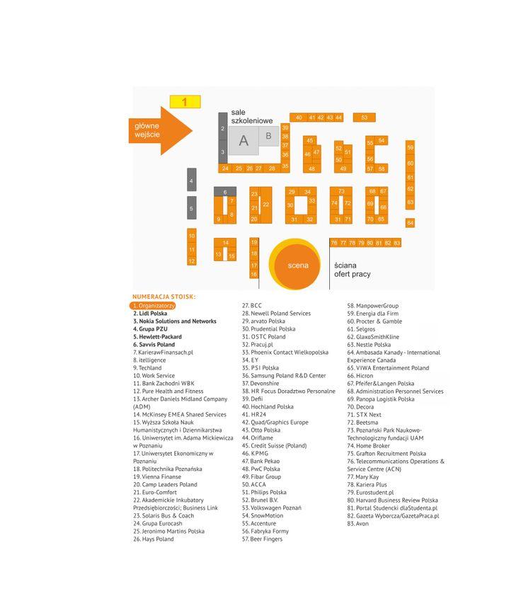 Mapa wystawców Poznań Career EXPO, jesień 2013