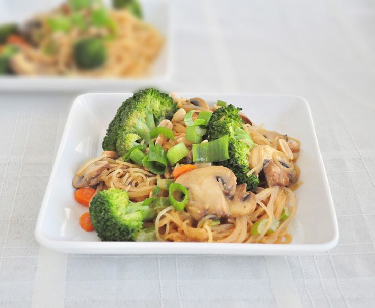 Peanut Noodle Stir Fry that tastes like you are eating out.  Gluten free and vegan.