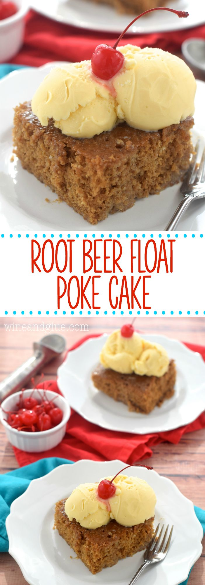 This Root Beer Float Poke Cake is the delicious creamy taste of a root beer float in a poke cake!