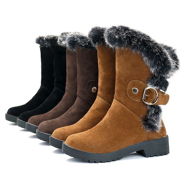 Winter Mid-Calf Boots Faux Fur Lining Casual Flats - US$55.35  women fashion shoes