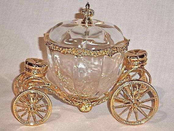 1989 Franklin Mint Disney Cinderella Coach Jewelry Box Glass 24K Gold Plate