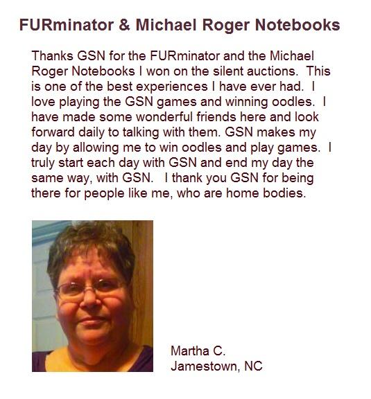 Congratulations on winning a FURminator and the Michael Roger Notebooks Martha C!