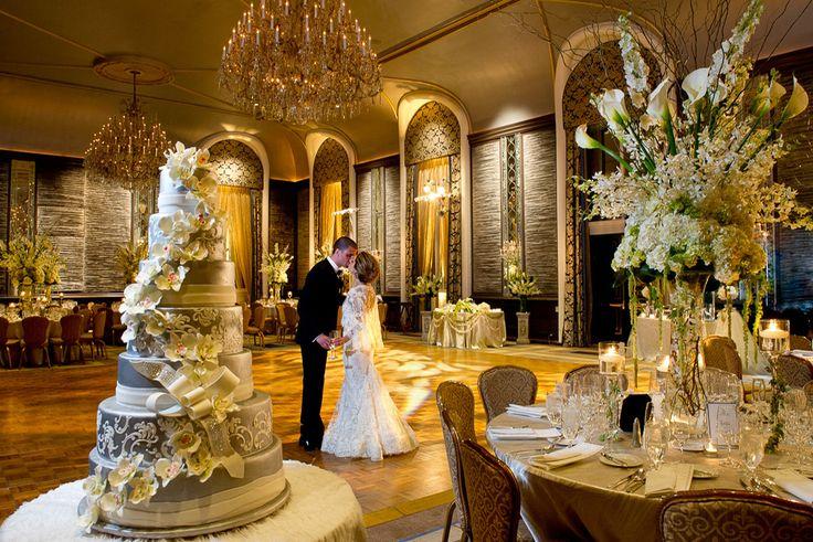 Metallic wedding reception design -- Brett Matthews Photography