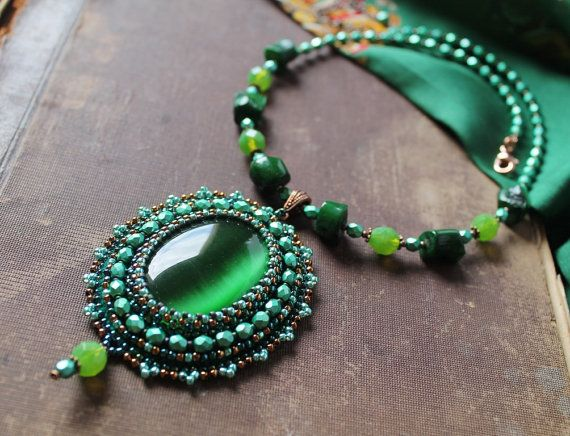 Green Pendant Necklace Bead embroidery Pendant by MisPearlBerry
