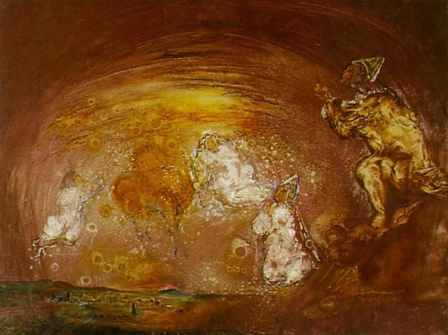 Untitled (Landscape with Celestial Beings) via Salvador Dali