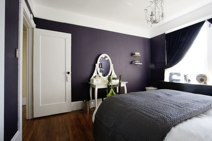 Dark purple and black bedroom ideas white wall paint for Black and white room painting ideas