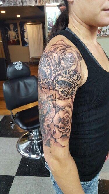 Half sleeve, masquerade mask and rose tattoo designs