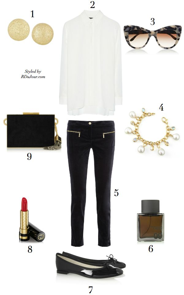 Outfit of the Day No.534 The Row Carlton Blouse Carolina Bucci Earrings Michael Kors Velvet Pants