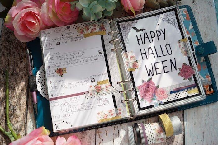 am 31 Oktober für Halloween ihr Filofax dekorieren mit Blumen und Kürbisse, kleines Fledermaus