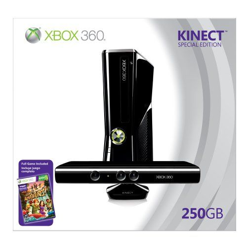 Xbox 360 250GB Console with Kinect - Release Date: 2010-11-04   Publisher: Microsoft   Jump, dodge, and kick your way through exciting adventures set in a variety of exotic locations with Kinect Adventures   Xbox 360 console includes built-in Wi-Fi for easy connection to Xbox LIVE, and comes with matching black controller and headset   Get off the couch and into the game by using your body as the controller with Kinect   Control your Xbox 360 with a single gesture