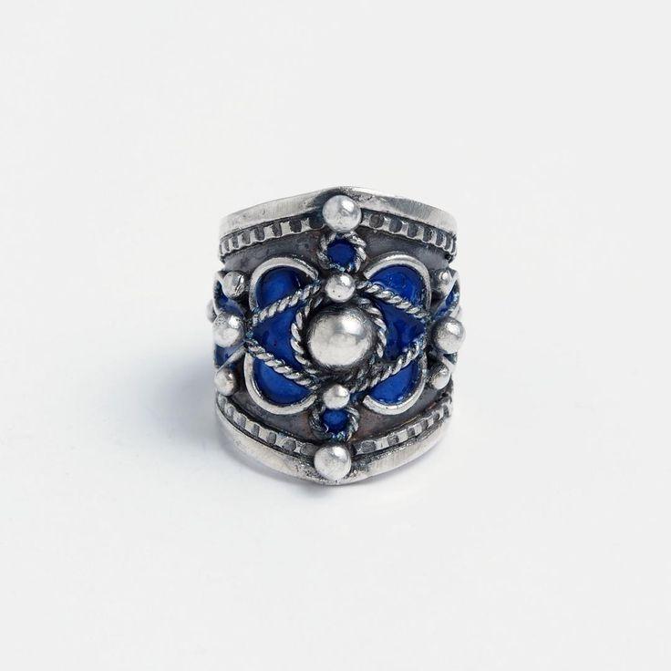 Inel Meknes, argint și email albastru, Maroc #metaphora #morocco  #silverjewellery #silverjewelry #rings