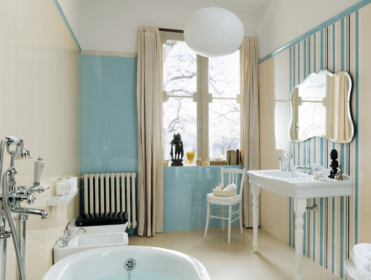 Visionary by Fap // light blue & striped tile accents for the bathroom