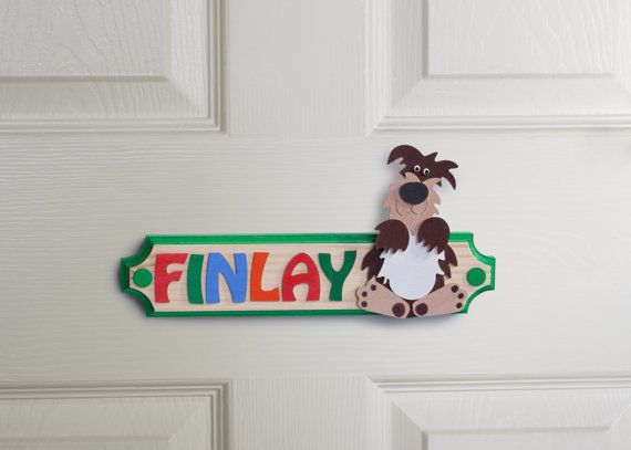 Personalised Dog Name Plaque Wooden Door Sign with by gandobambino