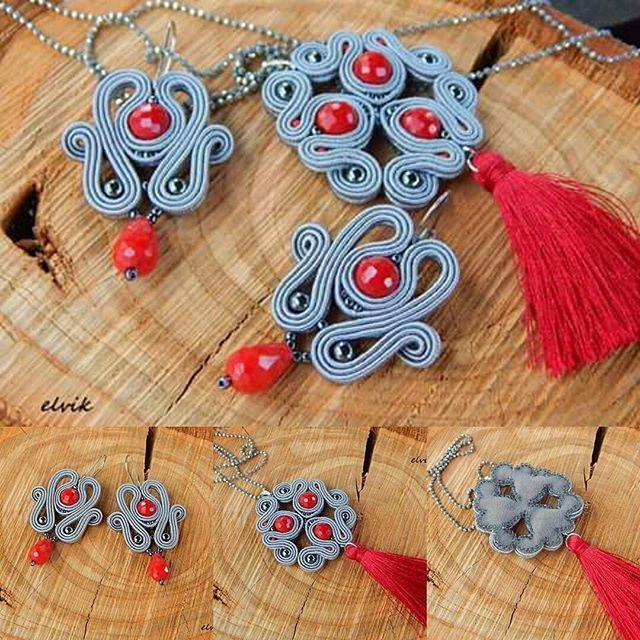Ren set #sutasz #soutache #handmade #rekodzielo #red #grey #jewelry #pendant #earrings #fashion #fashiongram #bijoux #madeinpoland