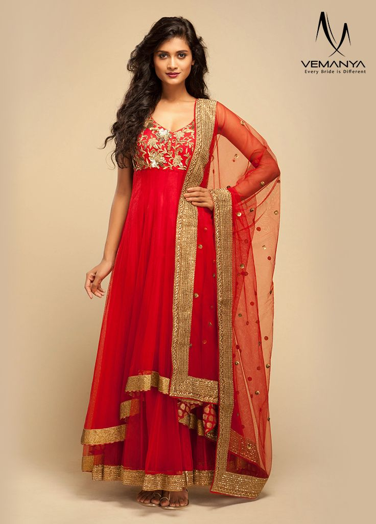 Grand floor length anarkali with flowy silhouette exclusively designed by Vemanya.