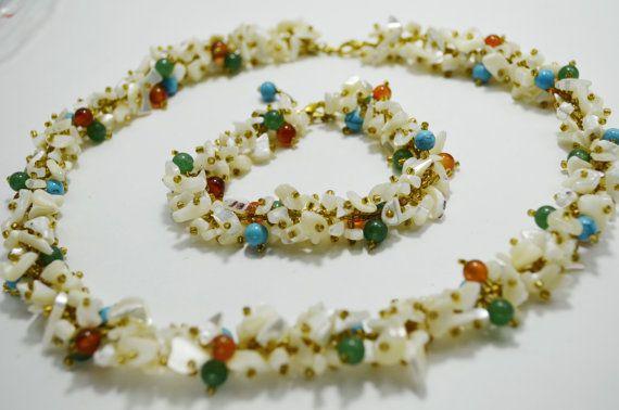 Multicolor Schmuck Edelstein Perlen klobige Boho Kette