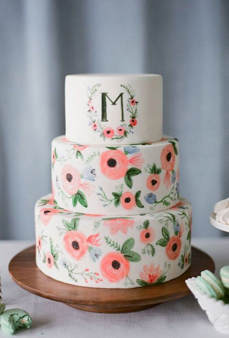 Brides: Whimsical Hand-Painted Floral Cake. Hand-painted floral wedding cake inspired by Rifle Paper Co., by The Sweet Side.