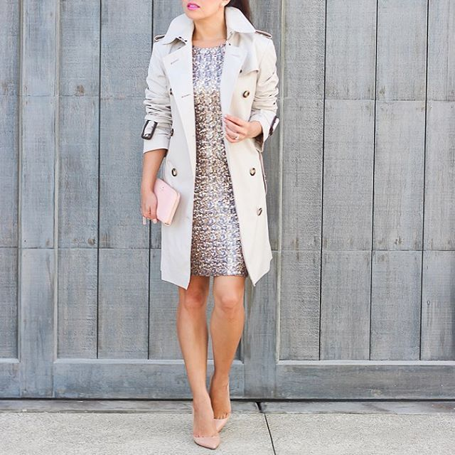 #TBT to sequins and classic trench coat http://liketk.it/2pzSP #holidaystyle #sequins #burberry