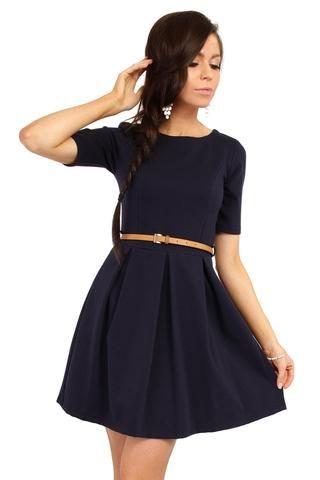 Navy Blue Magnanimous Modern Belted Tea-length Dress