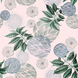 Retro Pink Foliage by Ani Chanchanian Seamless Repeat  Royalty-Free Stock Pattern