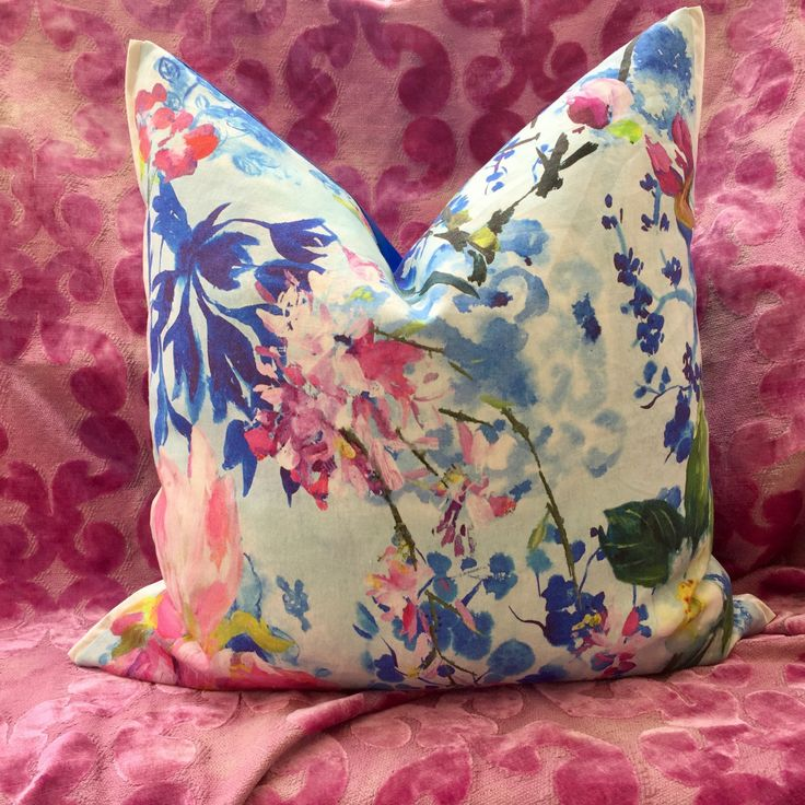 2 stunning pillow covers in MAJOLICA CORNFLOWER, 2017 collection Designers Guild by AdoreDesignLucie on Etsy