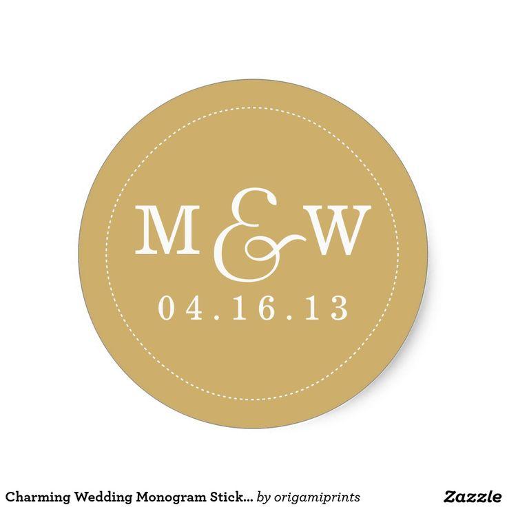 Reizend Hochzeits-Monogramm-Aufkleber - Gold