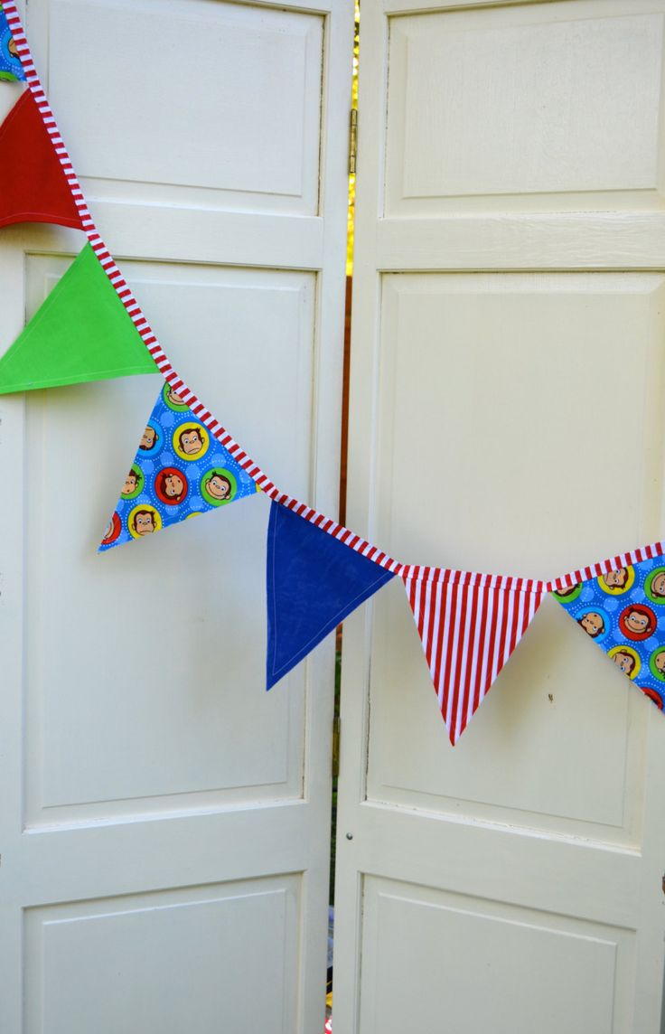 blue green red curious george bunting birthday banner decoration cake smash photo prop photo backdrop monkey nursery decor bedroom toddler