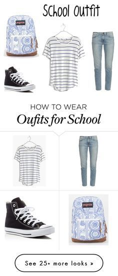 """""""Casual Outfit for School"""" by aishanuralifah on Polyvore featuring Converse, Madewell, Frame Denim and JanSport"""