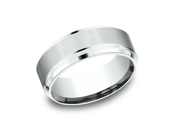 This Classically Stylish 10 Karat White Gold 8mm Comfort Fit Satin Finish Carved Wedding Band Features A Mens Wedding Rings Wedding Ring Designs Wedding Bands