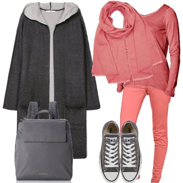 Outfit casual: jeans slim fit elasticizzati, maglia in cotone, scollo tondo, cardigan pesante, con cappuccio ampio, zainetto in ecopelle, sciarpa monocolore e per finire le intramontabili Converse.