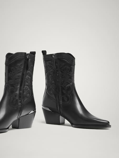 1e33d29c8cf BLACK LEATHER COWBOY ANKLE BOOTS - Women - Massimo Dutti   boots in ...