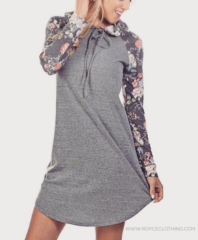 Grey Floral Hoodie Dress  $39 free shipping relaxed/ longer style fit www.royceclothing.com