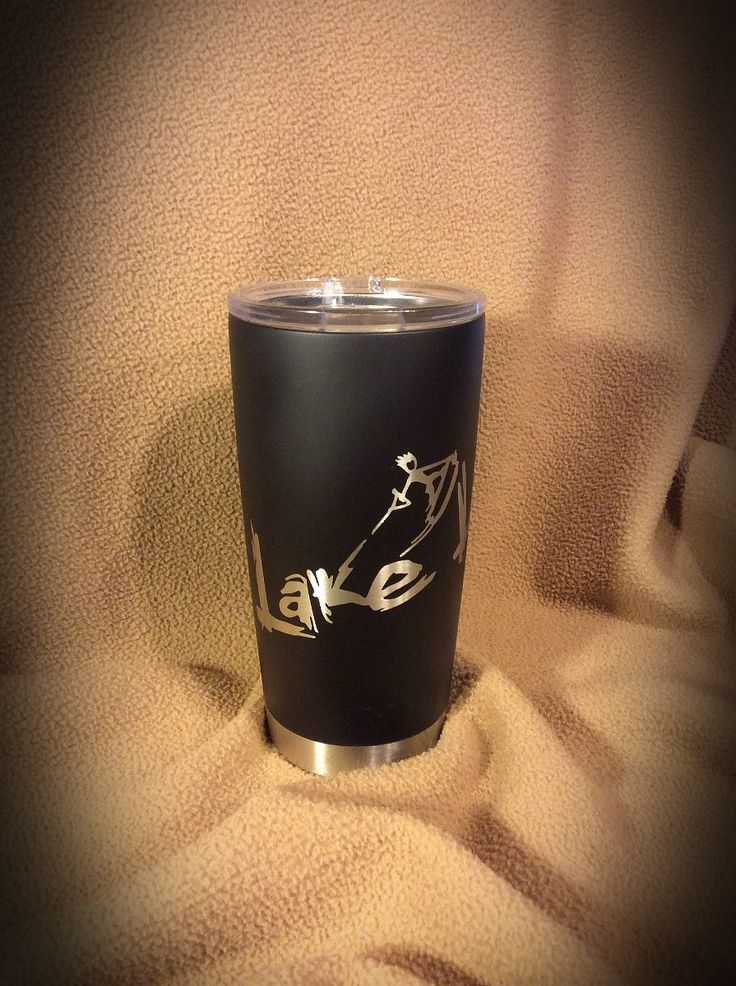 YETI 20 oz. mug in Duracoat Matte Black and custom Lake