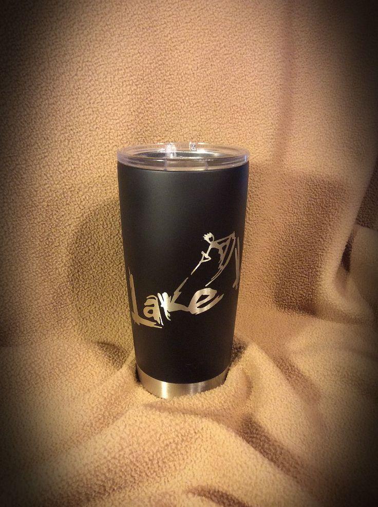 YETI 20 oz. mug in Duracoat Matte Black and custom Lake