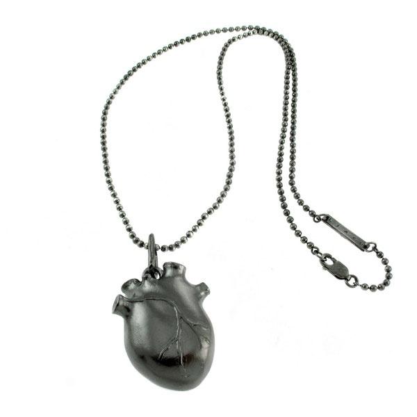 Black silver anatomic heart by Bjorg Jewellery
