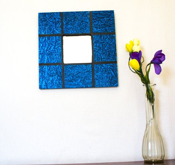 Blue Wall Mirror Stained Glass Mosaic Mirror Cool Wall Art