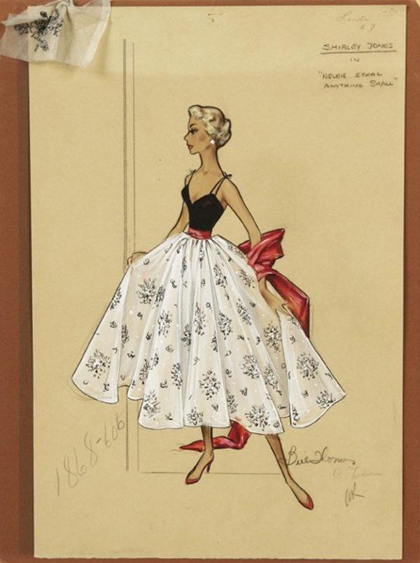 Bill Thomas costume design sketch in gouache