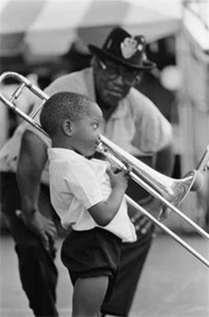 "Troy ""Trombone Shorty"" Andrews, virtuoso trombone and trumpet player from New Orlean's 6th Ward, playing at the age of 4, alongside legendary guitarist Bo Diddley (1990) photo Michael P. Smith tromboneshorty.com"