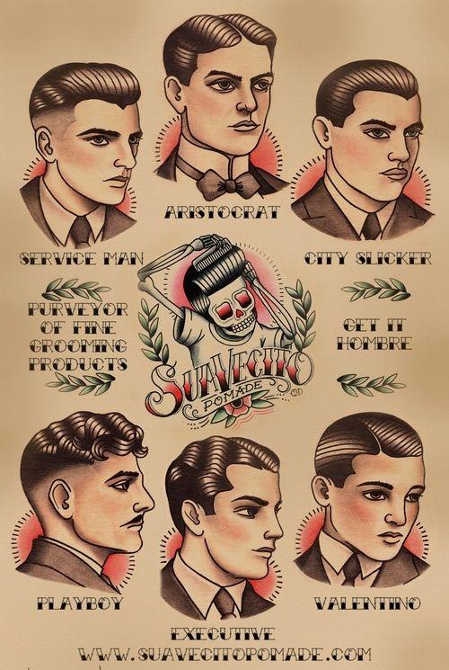 Vintage men hair styles #illustration #graphic #oldschool #man #frisuren #infographic #character #characterdesign