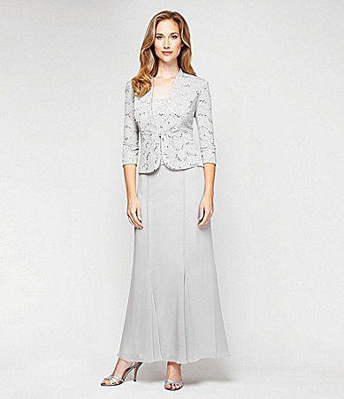Alex Evenings Sequined Jacquard Jacket Dress #Dillards