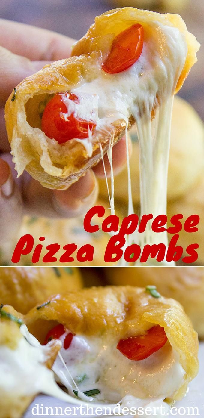 Caprese Pizza Bombs are a quick, fun treat or appetizer with fresh mozzarella, basil and cherry tomatoes. Plus the stretchy cheese factor is amazing. ad @stellacheese