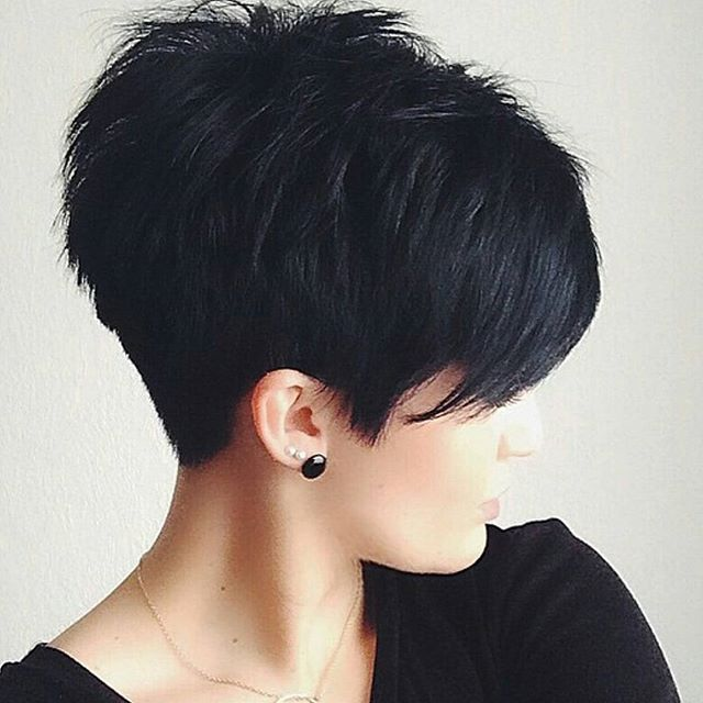 pixie hairstyles 2015 | Textured pixie cut with full fringe and ragged tips on straight black ...