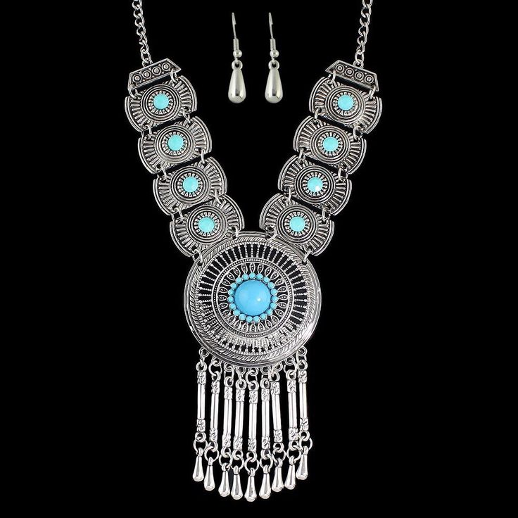 Excited to share the latest addition to my #etsy shop: Boho necklace earrings set, blue beaded necklace, silver color metal necklace, jewelry set, tribal necklace, bohemian hippie jewelry set
