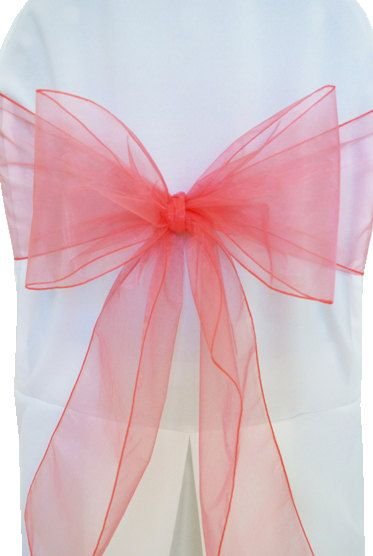 Organza Chair Sashes  50  Coral  8 X 108  by Annsbuttonandbows