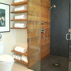 modern bathroom by Clockwork- the shower with lighter tile